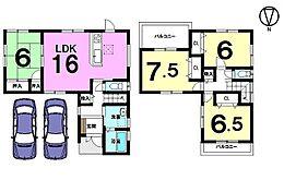 2面バルコニー、全居室6帖以上のゆとりある間取りです。並列で駐車2台可能
