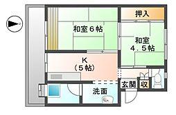滋賀県東近江市八日市緑町の賃貸マンションの間取り