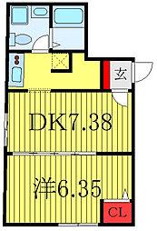 JR山手線 田端駅 徒歩15分の賃貸マンション 1階1DKの間取り