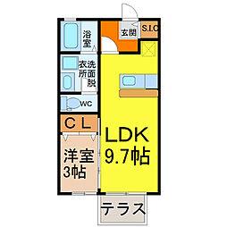 愛知県名古屋市中村区豊国通3丁目の賃貸アパートの間取り