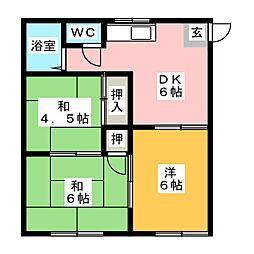 コーポサニーフラット[1階]の間取り