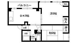 甲東園ハイツ[3B号室]の間取り