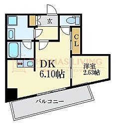 MODERN PALAZZO KEGO SUN 8階1DKの間取り