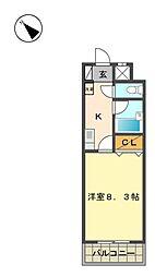 愛知県長久手市山桶の賃貸マンションの間取り