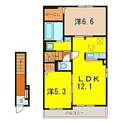 愛知県岡崎市大門2丁目の賃貸アパートの間取り