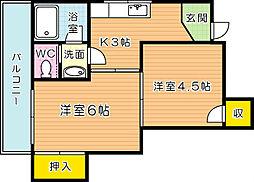 財前ビル富士見[4階]の間取り