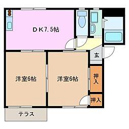 三重県四日市市白須賀2丁目の賃貸アパートの間取り