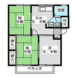 フローレス93 B棟[2階]の間取り