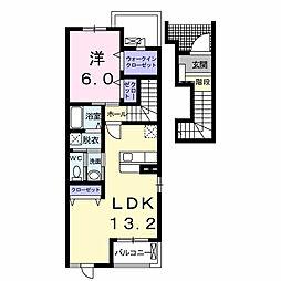 愛知県西尾市徳次町地蔵の賃貸アパートの間取り