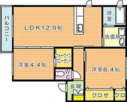 プリヴェーラ A棟[2階]の間取り
