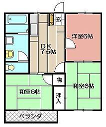メルベーユ・カトウA[103号室]の間取り