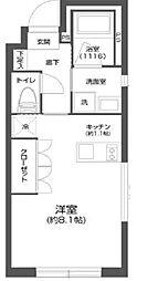 都営新宿線 菊川駅 徒歩6分の賃貸マンション 2階ワンルームの間取り
