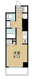 東急田園都市線 駒沢大学駅 徒歩2分の賃貸マンション 12階ワンルームの間取り