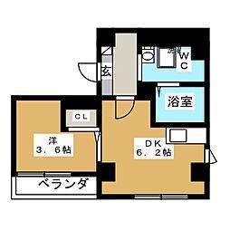 平井SKハイツ 2階1Kの間取り