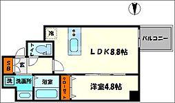プレサンス北浜レガーロ 6階1LDKの間取り