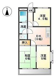 岡山県倉敷市西富井丁目なしの賃貸マンションの間取り