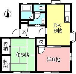 京王線 多磨霊園駅 徒歩10分の賃貸アパート 2階2DKの間取り
