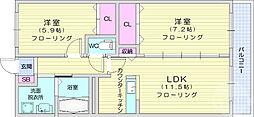 JR東北本線 国府多賀城駅 徒歩23分の賃貸マンション 1階2LDKの間取り