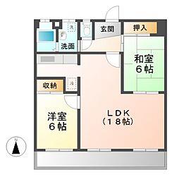 愛知県名古屋市西区中小田井3丁目の賃貸マンションの間取り