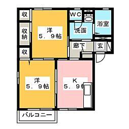 ベルシオン−ユウB[2階]の間取り
