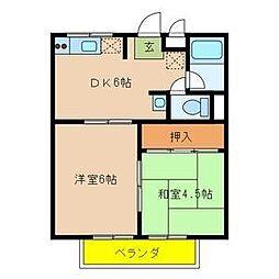 大阪府大阪市城東区諏訪2丁目の賃貸アパートの間取り
