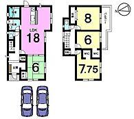 土地面積:55.34坪。全居室6帖以上のゆとりある間取りです。お気軽にお問合せ下さい。