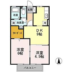 田辺ロイヤルハイツ[2階]の間取り