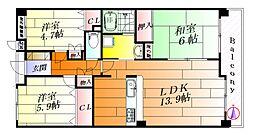 千里五月丘ハイツII番館[3階]の間取り