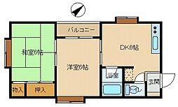 ベルメゾン平田[302号室]の間取り