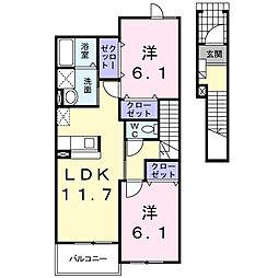 カンポリーナ 2階2LDKの間取り