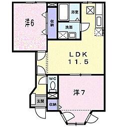 岡山県総社市井尻野の賃貸アパートの間取り