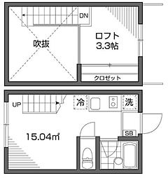 東京都新宿区富久町の賃貸アパートの間取り