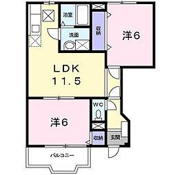 クロスローズ 1階2LDKの間取り