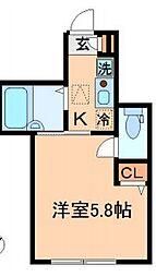 JR中央線 西国分寺駅 徒歩9分の賃貸アパート 2階ワンルームの間取り