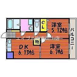 岡山県岡山市中区海吉丁目なしの賃貸マンションの間取り