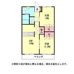 愛知県一宮市浅野字駒寄の賃貸アパートの間取り