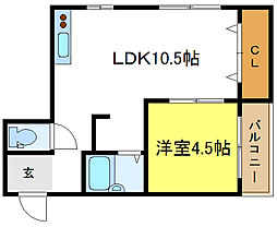 ルエーテ20 3階1DKの間取り