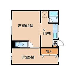 奈良県奈良市押小路町の賃貸アパートの間取り
