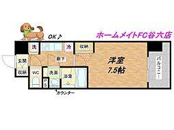 大阪府大阪市中央区上汐1丁目の賃貸マンションの間取り