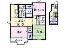 神奈川県伊勢原市串橋の賃貸アパートの間取り