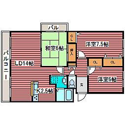 KKS福住[4階]の間取り
