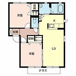 大阪府堺市西区浜寺昭和町1丁の賃貸アパートの間取り