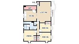 愛知県名古屋市昭和区八雲町の賃貸マンションの間取り