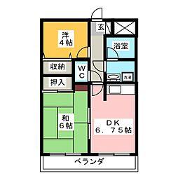 ヴィラ広沢5 3階2DKの間取り