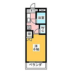 SHINアパートメントハウス扇町 1階ワンルームの間取り