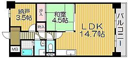 大阪府大阪市西淀川区姫里3丁目の賃貸マンションの間取り