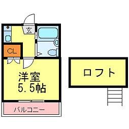 兵庫県尼崎市稲葉荘2丁目の賃貸アパートの間取り