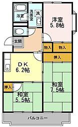 桐朋ハイツ[4階]の間取り
