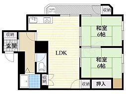南海高野線 初芝駅 徒歩9分の賃貸マンション 3階2LDKの間取り