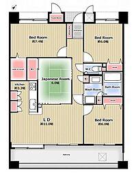 間取り図。全居室6帖以上でゆったり利用可能。